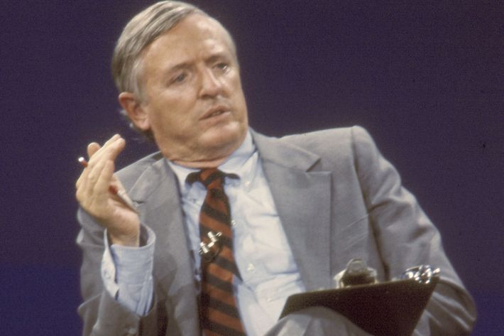 TALLAHASSEE, FL - 1983: Conservative author and television host William F. Buckley, Jr. on the set of 'Firing Line' at WFSU-TV in Tallahassee, Florida in October 1983. (Photo by Mickey Adair/Getty Images)