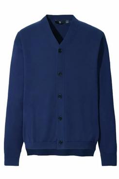 Uniqlo J+ Silk Cotton V-Neck Long-Sleeve Cardigan