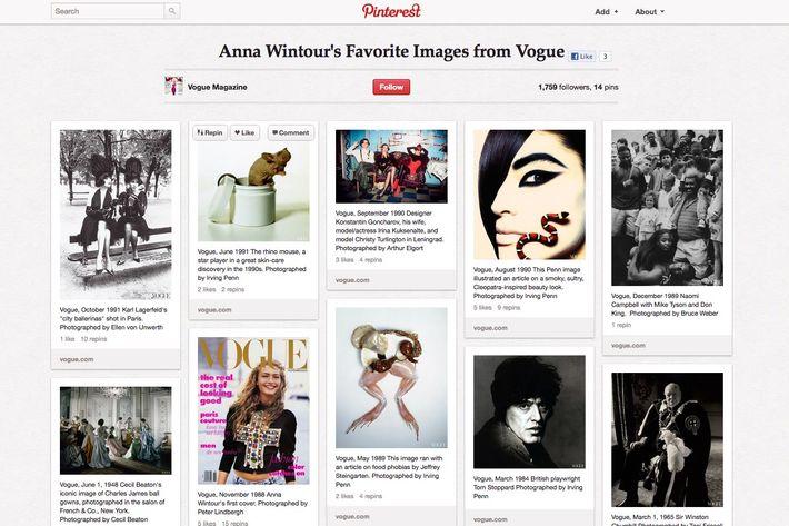 Anna Wintour's Pinterest page.