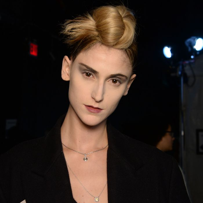 A model and her topknot at Marc Jacobs.