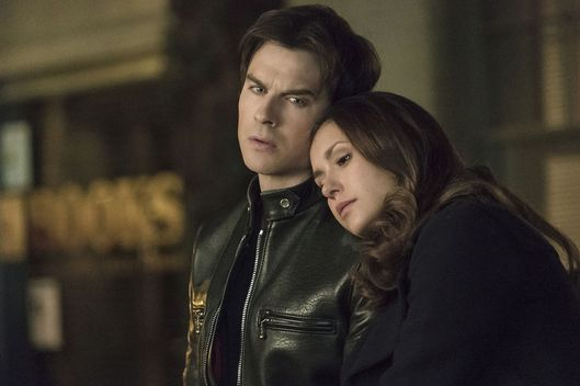 "The Vampire Diaries -- ""I Never Could Love Like That"" -- Image Number: VD618a_0028.jpg -- Pictured (L-R): Ian Somerhalder as Damon and Nina Dobrev as Elena -- Photo: Tina Rowden/The CW -- ?'?? 2015 The CW Network, LLC. All rights reserved."