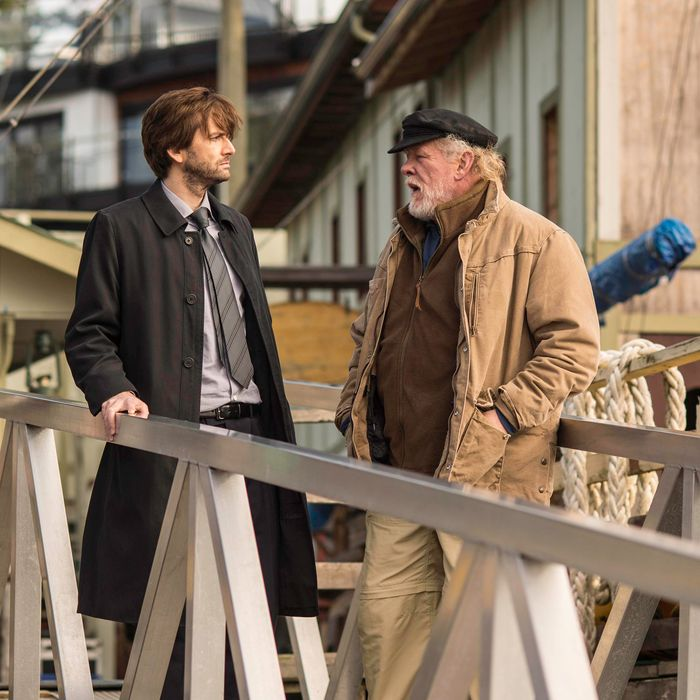 GRACEPOINT: Detective Emmett Carver (David Tennant, L) questions Jack Reinhold (Nick Nolte, R) in