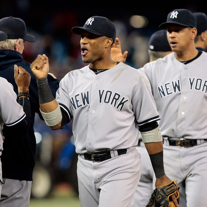 The New York Yankees celebrate win against the Toronto Blue Jays during MLB action at the Rogers Centre September 30, 2012 in Toronto, Ontario, Canada.