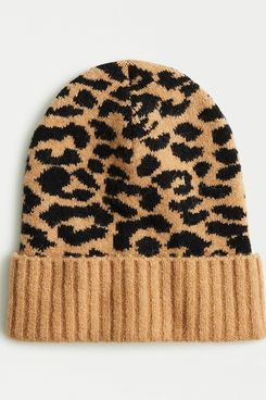 J. Crew Leopard-Print Beanie in Supersoft Yarn
