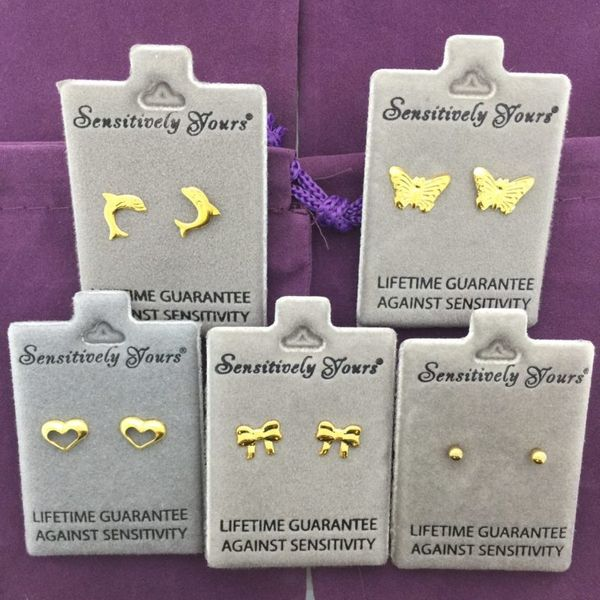 Sensitively Yours Gift Box of 5 Children's Gold Earrings