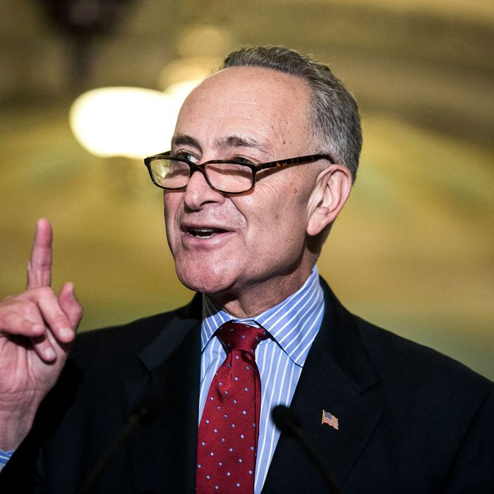 U.S. Sen. Charles Schumer (D-NY) addresses a press conference following a 54-45 vote against a House bill that would include the wealthiest Americans in an extension of the Bush-era tax cuts on July 25, 2012 in Washington, DC. The Senate instead approved by a vote of 51-48 a Democratic bill that excludes the highest-earning Americans from a yearlong extension of tax cuts.