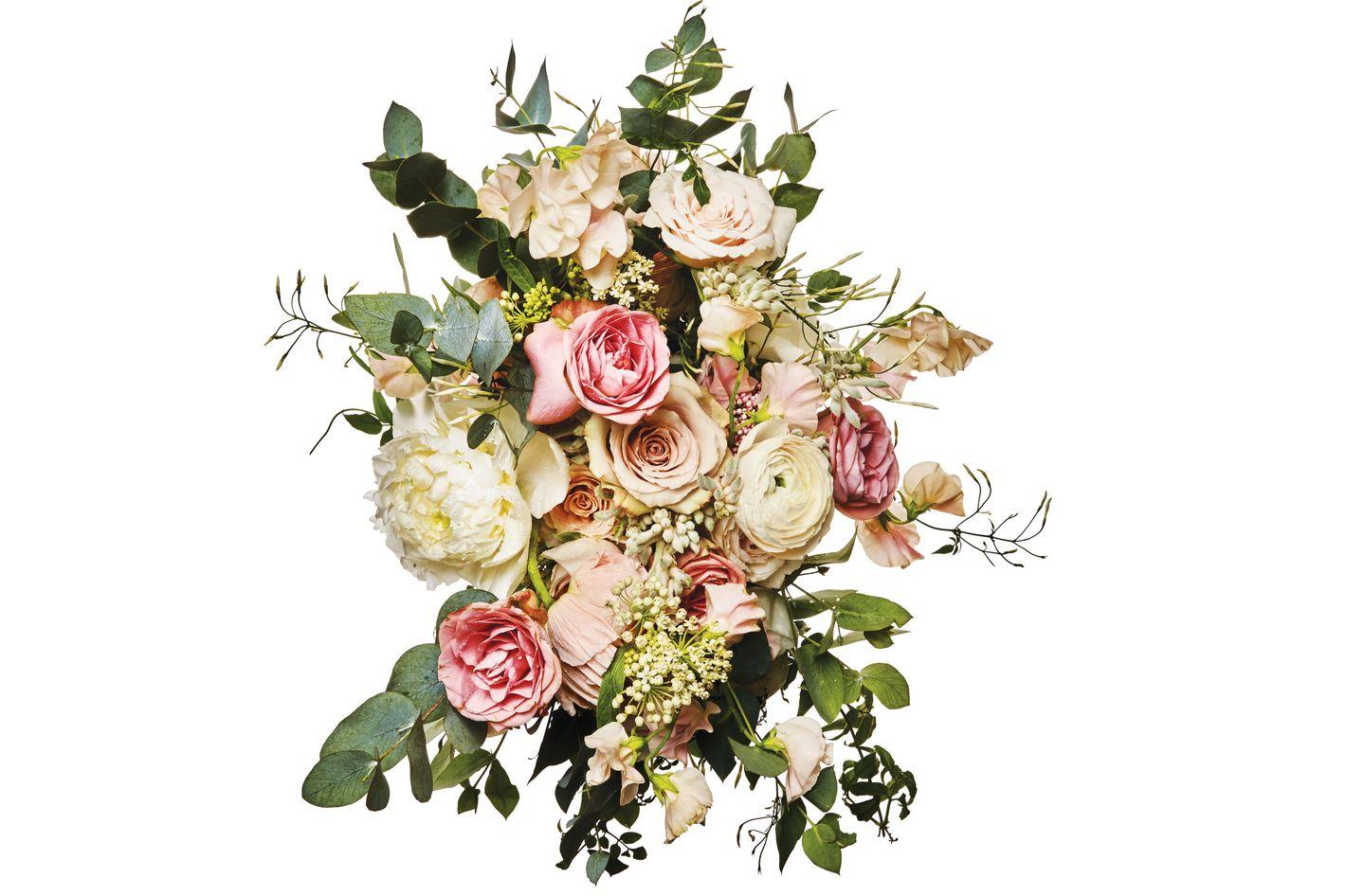 Garden rose, ranunculus, sweet pea, lisianthus, jasmine, peony, and eucalyptus