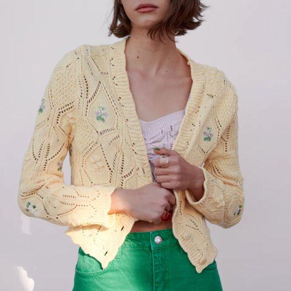 Zara Floral Knit Jacket