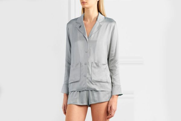 Love Stories Bluemoon and Audrey embroidered satin pajama set