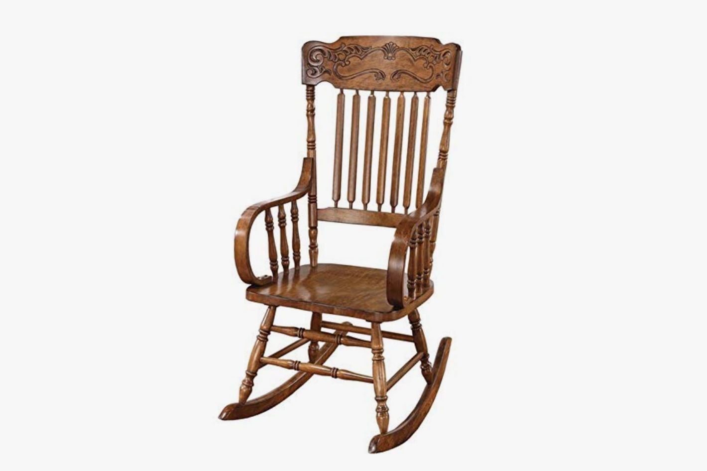 Rocking Chair With Ornamental Headrest At