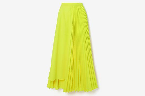 Christopher John Rogers Neon Asymmetric Pleated Skirt