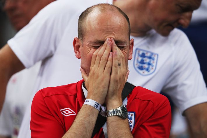 Crying English fan.