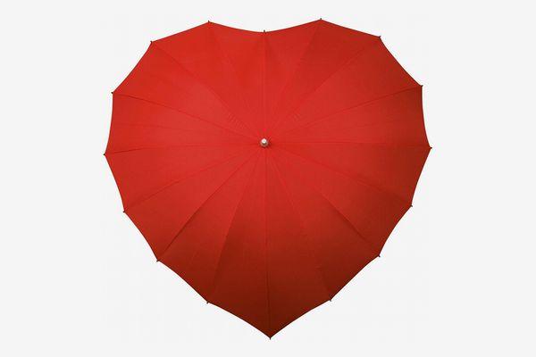 Falcone Parapluie Droit — Toile en Forme de Coeur Rouge