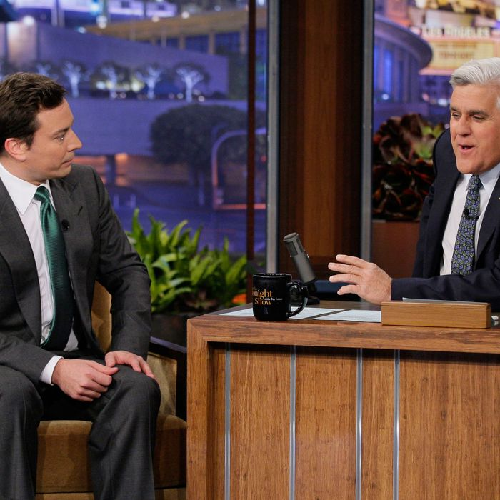 THE TONIGHT SHOW WITH JAY LENO -- Episode 4216 -- Pictured: (l-r) Talk show host Jimmy Fallon during an interview with host Jay Leno on March 16, 2012.