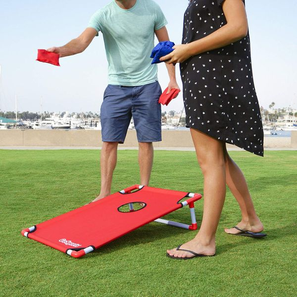 GoSports Portable PVC Framed Cornhole Toss Game Set With 8 Bean Bags and Travel Carrying Case