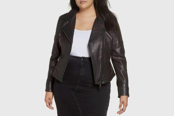 Ashley Graham x Marina Rinaldi Ebe Leather Biker Jacket