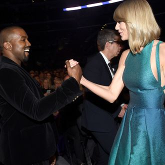LOS ANGELES, CA - FEBRUARY 08: Recording Artists Kanye West and Taylor Swift attend The 57th Annual GRAMMY Awards at the STAPLES Center on February 8, 2015 in Los Angeles, California. (Photo by Larry Busacca/Getty Images for NARAS)