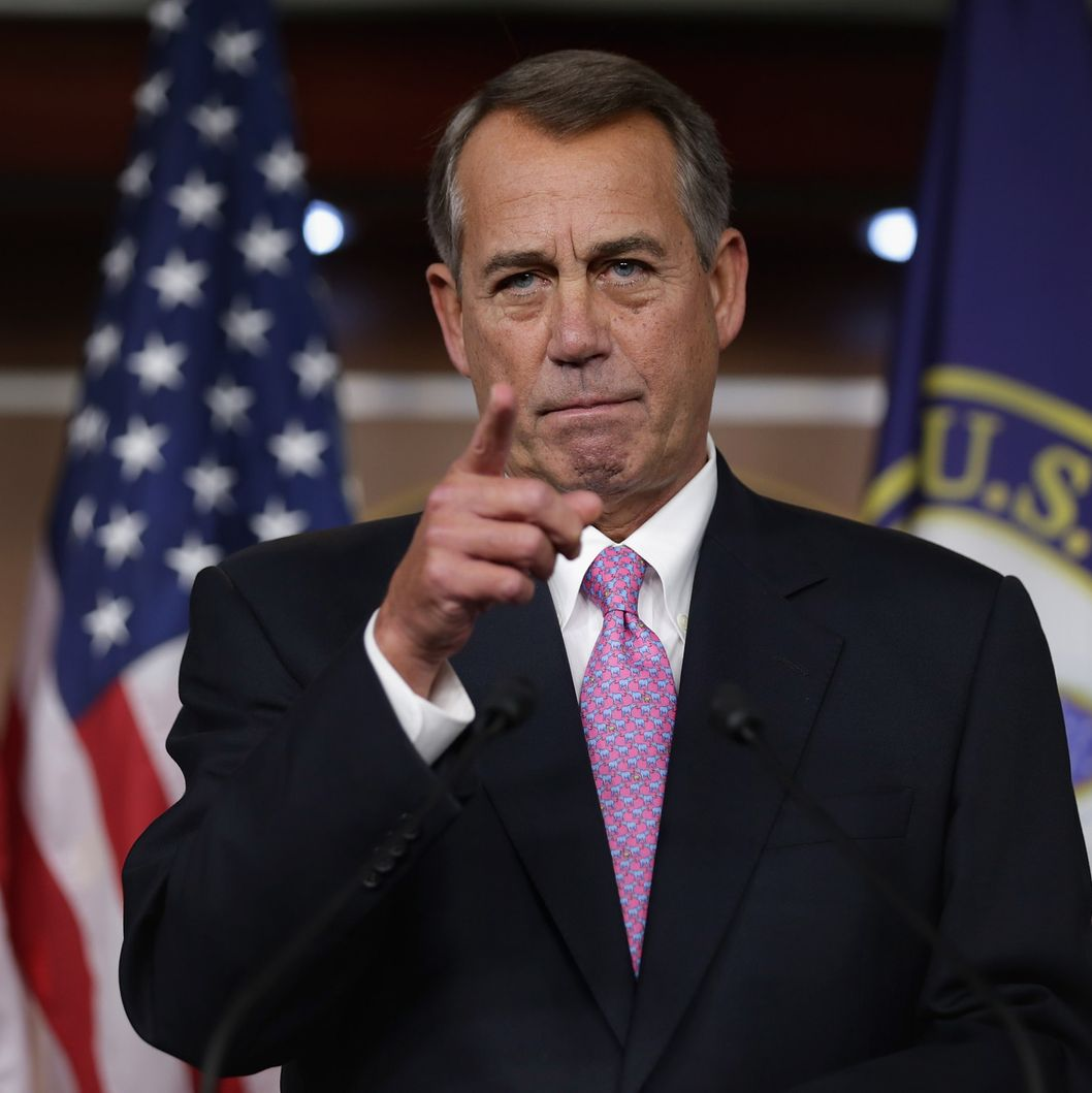 "WASHINGTON, DC - DECEMBER 05:  Speaker of the House John Boehner (R-OH) answers reporters questions during his weekly news conference in the Capitol Visitors Center at the U.S. Capitol December 5, 2013 in Washington, DC. When asked about the Republican Party's running against women, Boehner said, ""Some of our members just are not as sensitive as they ought to be.""  (Photo by Chip Somodevilla/Getty Images)"