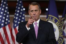 WASHINGTON, DC - DECEMBER 05: Speaker of the House John Boehner (R-OH) answers reporters questions during his weekly news conference in the Capitol Visitors Center at the U.S. Capitol December 5, 2013 in Washington, DC. When asked about the Republican Party's running against women, Boehner said,