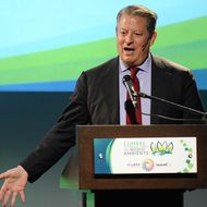 Former US Vice-President and environmental activist Al Gore speaks during an environmental summit in Guayaquil, Ecuador on March 17, 2011. AFP PHOTO / RODRIGO BUENDIA (Photo credit should read RODRIGO BUENDIA/AFP/Getty Images)