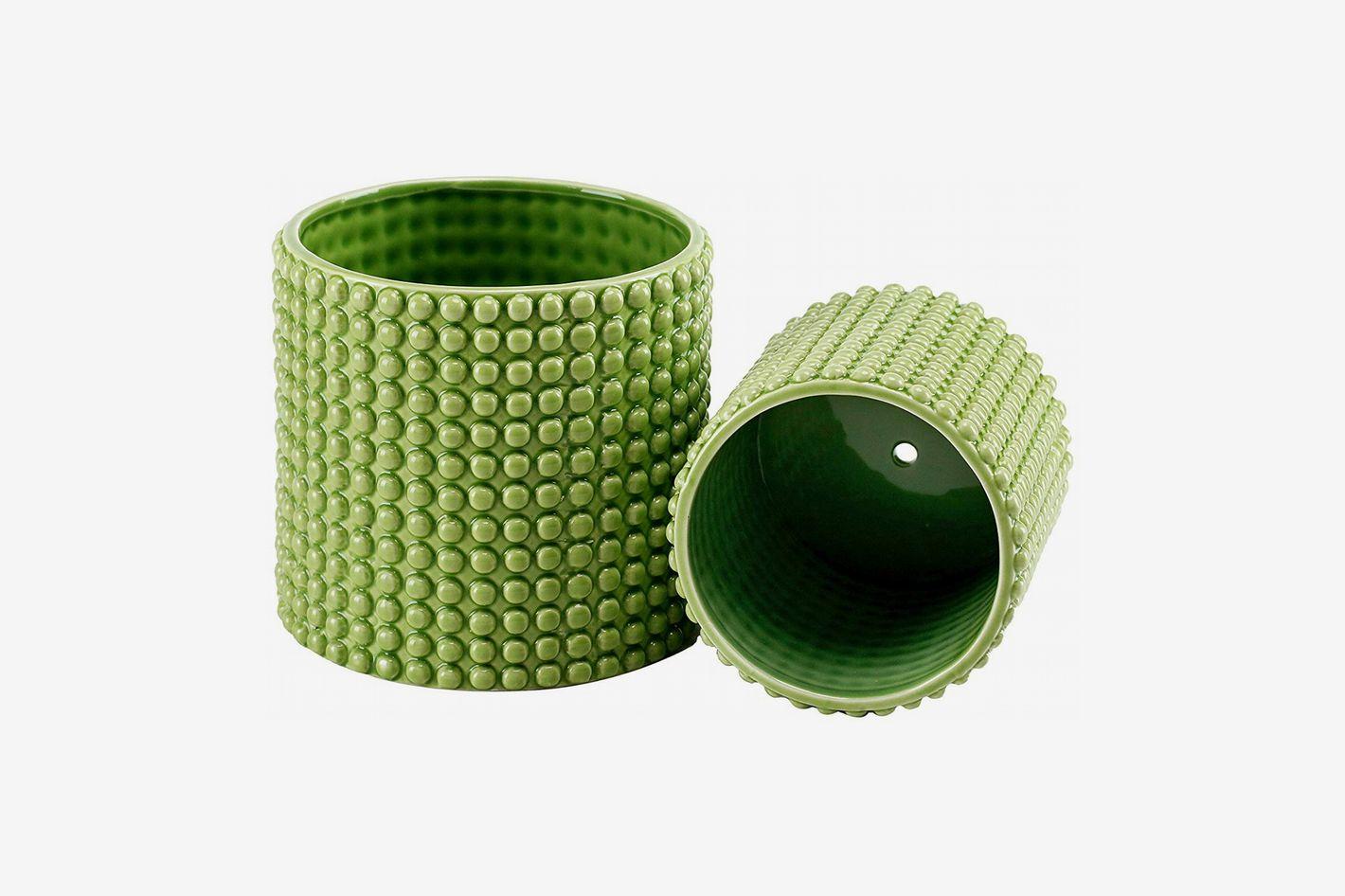 Pistachio Green Ceramic Textured Planters (Set of 2)