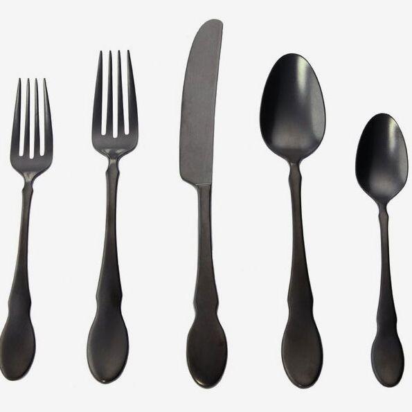 Gourmet Settings Ebony Black Birch 20 Piece 18/10 Stainless Steel Flatware Set, Service for 4