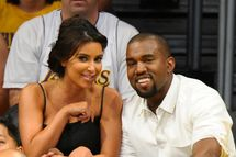 LOS ANGELES, CA - MAY 12:  Kim Kardashian (L) and Kanye West attend the Los Angeles Lakers and Denver Nuggets Game 7 of the Western Conference Quarterfinals in the 2012 NBA Playoffs on May 12, 2012 at Staples Center in Los Angeles, California.  (Photo by Noel Vasquez/Getty Images)