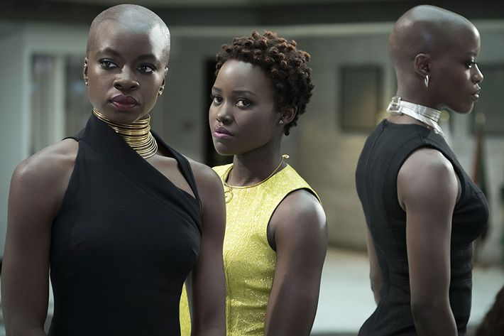 Danai Gurira and Lupita Nyong'o in Black Panther.