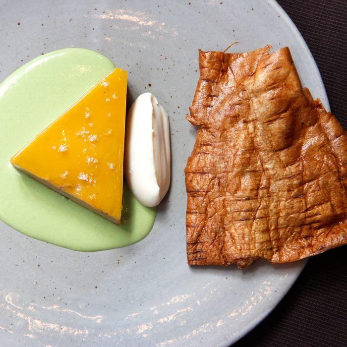 Betony's foie gras terrine with parsnip and sesame.