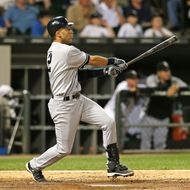 CHICAGO, IL - AUGUST 22:  Derek Jeter #2 of the New York Yankees hits a game-tying solo home run in the 6th inning against the Chicago White Sox at U.S. Cellular Field on August 22, 2012 in Chicago, Illinois.  The White Sox defeated the Yankees 2-1. (Photo by Jonathan Daniel/Getty Images) *** Local Caption *** Derek Jeter