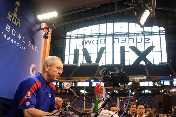 INDIANAPOLIS, IN - JANUARY 31:  Head coach Tom Coughlin of the New York Giants answers question from the media during Media Day ahead of Super Bowl XLVI against the New England Patriots at Lucas Oil Stadium on January 31, 2012 in Indianapolis, Indiana.  (Photo by Scott Halleran/Getty Images)