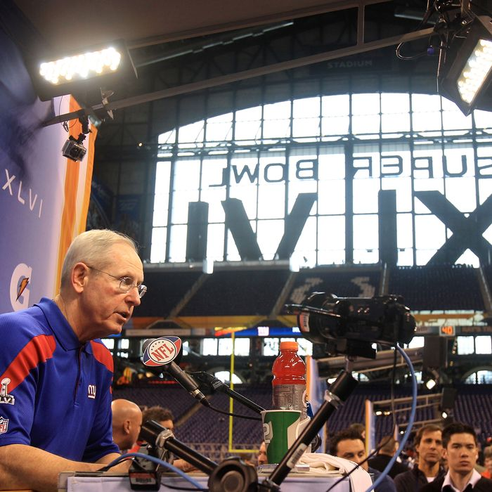 Head coach Tom Coughlin of the New York Giants answers question from the media during Media Day ahead of Super Bowl XLVI