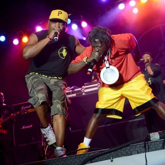 Flavor Flav, Chuck D. of Public Enemy performs at Wingate Park in Brooklyn New York on July 30th, 2012.