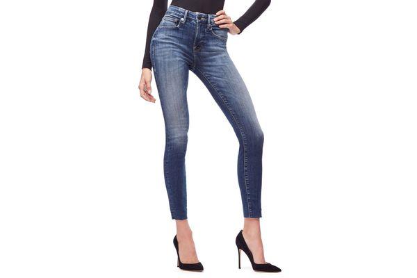 Good American High Waist Raw Hem Skinny Jeans