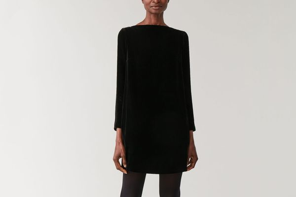 Cos Boat Neck Velvet Dress
