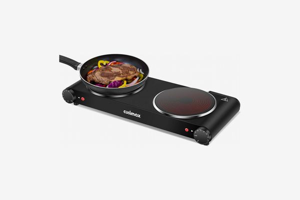Cusimax Portable Electric Stove, 1800W Infrared Double Burner