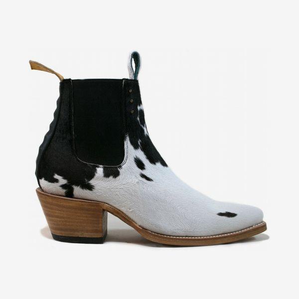 PS Kaufman No.1001 Freeway Chelsea boot black + white fur women