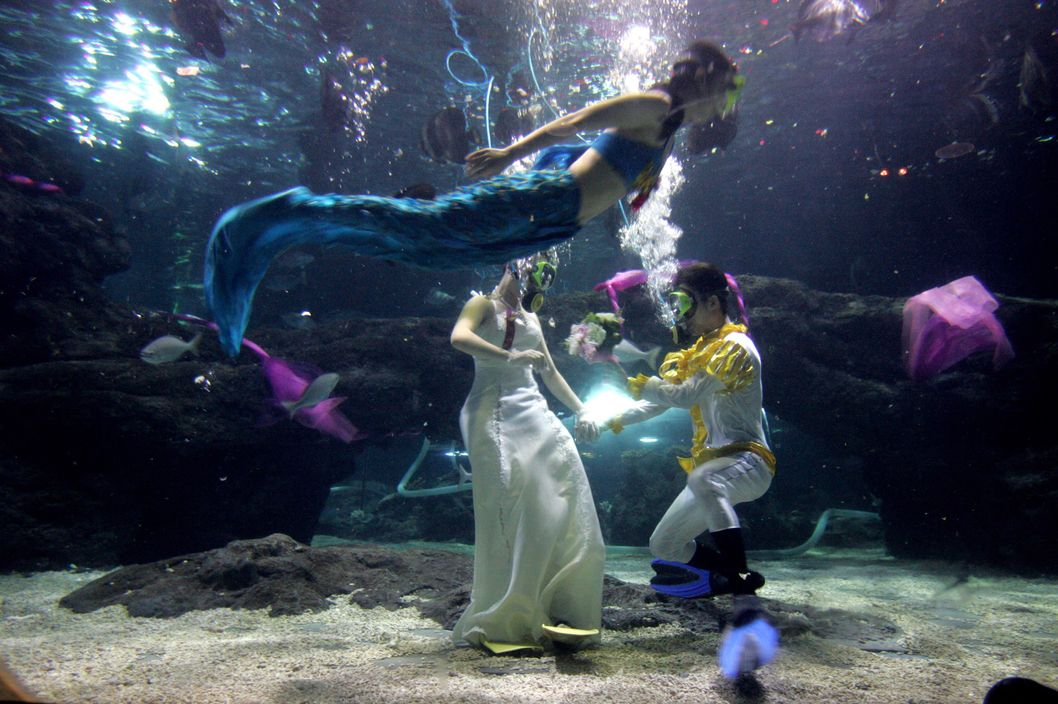 A mermaid swims past the newly married couple swim in the water during their under water wedding ceremony at an Ocean World on September 26, 2007 in Zhengzhou, central China's Henan province.
