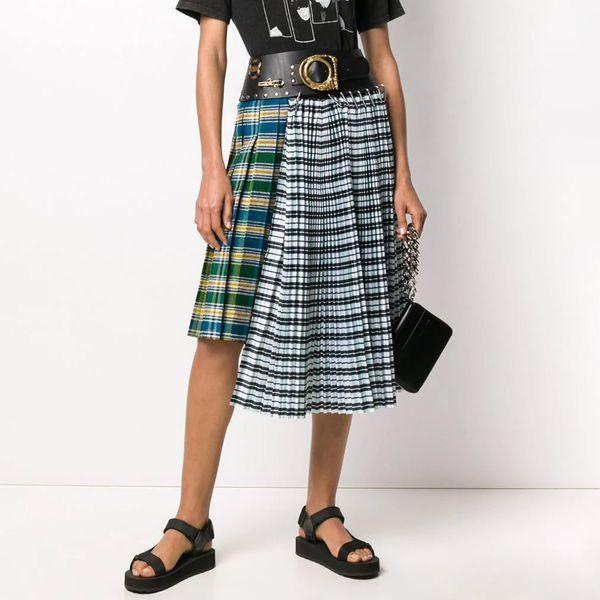 Chopova Lowena Contrast Panel Pleated Skirt