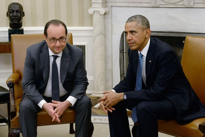President Barack Obama Hosts French President Francois Hollande In The Oval Office