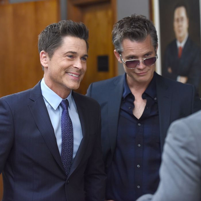 THE GRINDER: L-R: Rob Lowe and guest star Timothy Olyphant in the