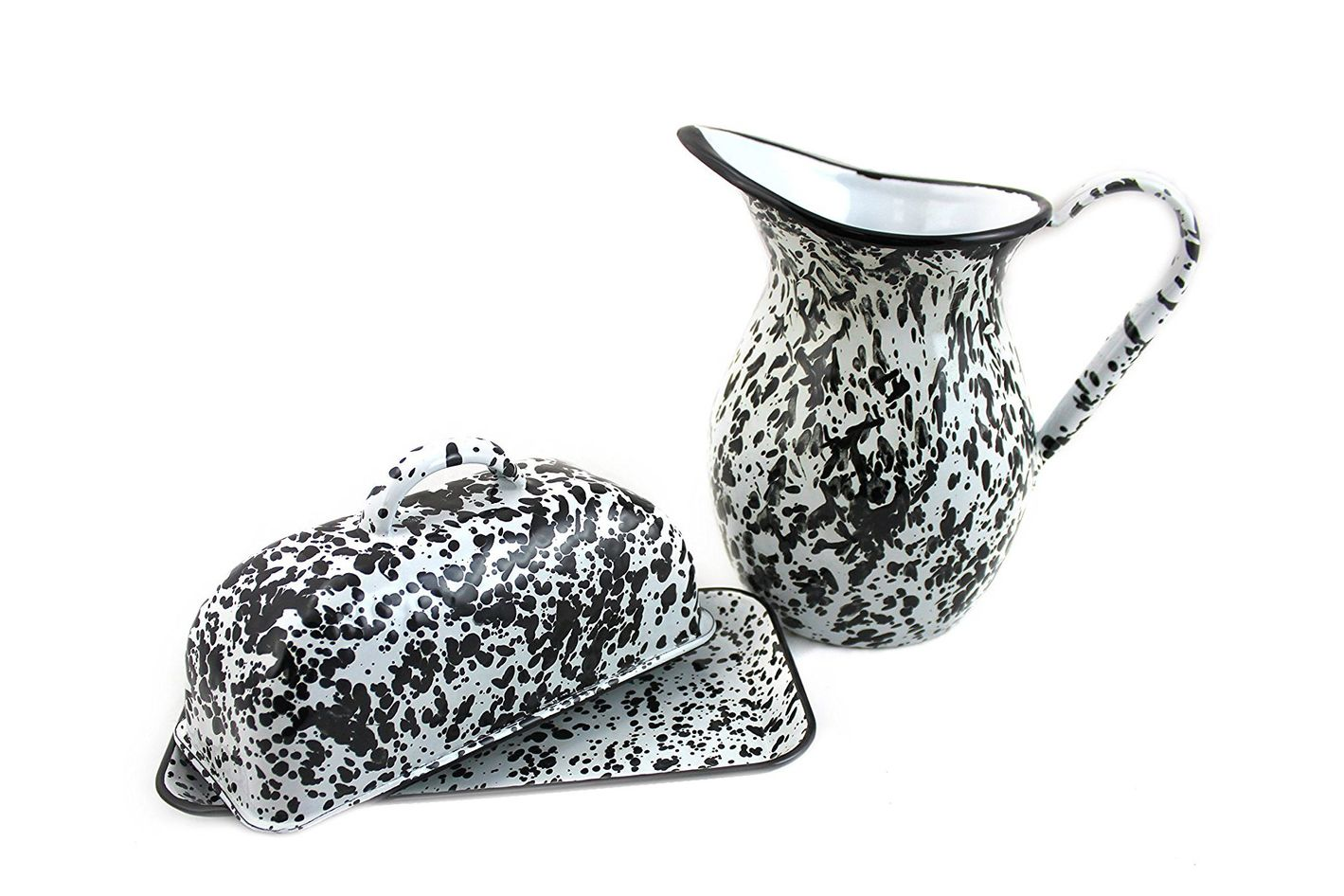 Black White Spattware Enamelware Pitcher and Butter Dish