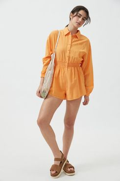 Urban Outfitters Emma Collared Long Sleeve Romper Orange