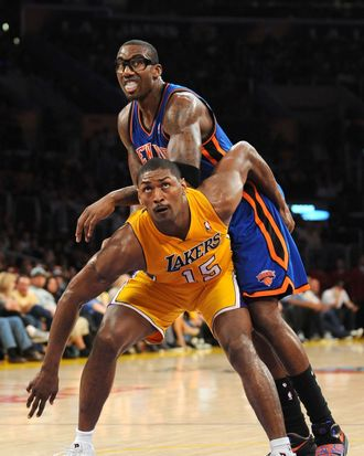LOS ANGELES, CA - DECEMBER 29: Metta World Peace #15 of the Los Angeles Lakers boxes out against Amar'e Stoudemire #1 of the New York Knicks at Staples Center on December 29, 2011 in Los Angeles, California. NOTE TO USER: User expressly acknowledges and agrees that, by downloading and/or using this Photograph, user is consenting to the terms and conditions of the Getty Images License Agreement. Mandatory Copyright Notice: Copyright 2011 NBAE (Photo by Juan Ocampo/NBAE via Getty Images)