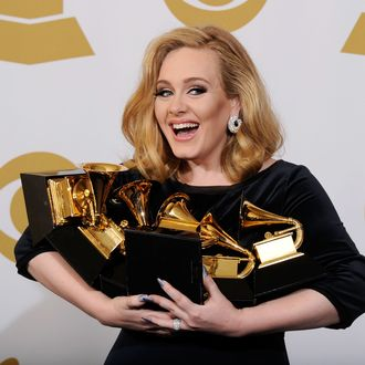 LOS ANGELES, CA - FEBRUARY 12: Singer Adele, winner of six GRAMMYs, poses in the press room at the 54th Annual GRAMMY Awards at Staples Center on February 12, 2012 in Los Angeles, California. (Photo by Kevork Djansezian/Getty Images)