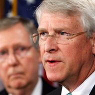 WASHINGTON - JANUARY 12:  U.S. Sen. Roger Wicker (R-MS) (R) speaks as Senate Minority Leader Sen. Mitch McConnell (R-KY) (L) listens during a news conference on Capitol Hill January 12, 2010 in Washington, DC. The Republican legislators briefed the media on a recent Congressional delegation to Afghanistan and Pakistan.  (Photo by Alex Wong/Getty Images) *** Local Caption *** Mitch McConnell;Roger Wicker