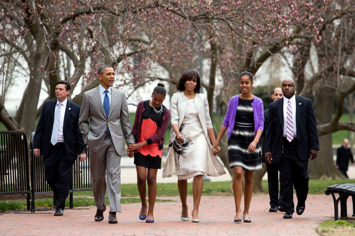 Barack Obama, Sasha, Michelle, and Malia on Easter.