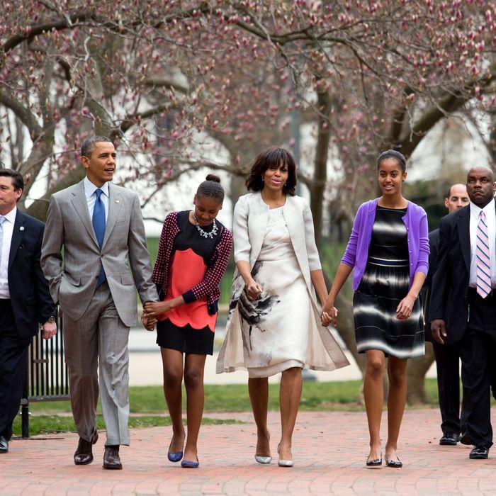 Barack Obama, Sasha, Michelle, and Malia on Easter.