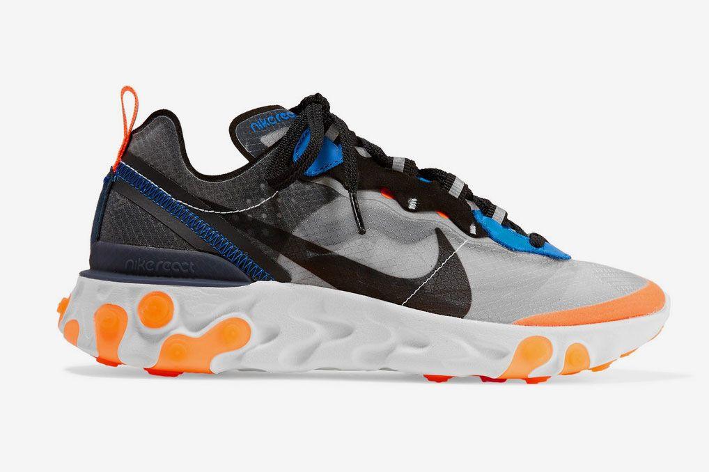 Nike React Element 87 microsuede-trimmed ripstop sneakers