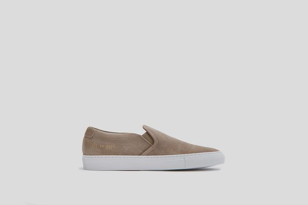 Woman by Common Projects Slip On in Warm Gray Waxed Suede